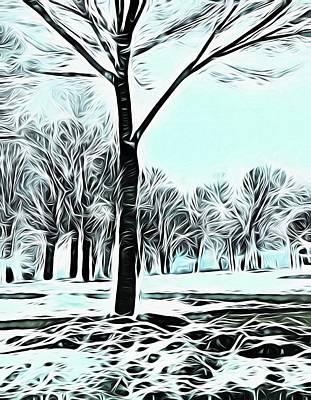Digital Art - Lakefront In Winter by Cindy Boyd