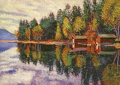Painting - Lakeshore Boathouses by David Lloyd Glover