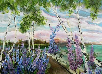 Lakeside Lupin Art Print