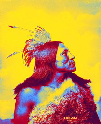 Mannequin Dresses Rights Managed Images - Lakota Sioux Warrior, Good Bird 1898 Neon art by Ahmet Asar Royalty-Free Image by Ahmet Asar