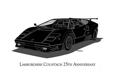 Digital Art - Lamborghini Countach 25th Anniversary - Front View by David Marchal