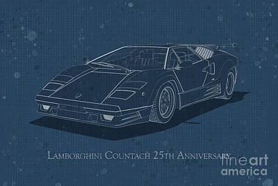 Digital Art - Lamborghini Countach 25th Anniversary - Front View - Stained Blu by David Marchal