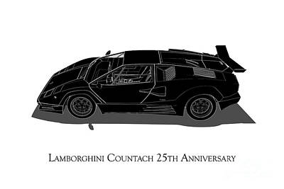 Digital Art - Lamborghini Countach 25th Anniversary - Side View by David Marchal