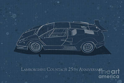 Digital Art - Lamborghini Countach 25th Anniversary - Side View - Stained Blue by David Marchal