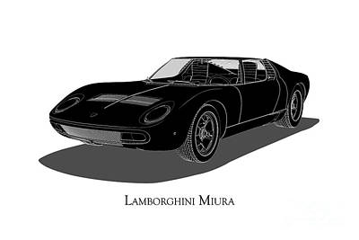 Digital Art - Lamborghini Miura - Front View by David Marchal