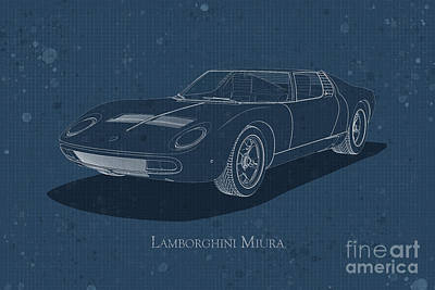 Digital Art - Lamborghini Miura - Front View - Stained Blueprint by David Marchal