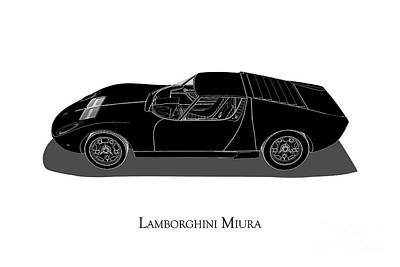 Digital Art - Lamborghini Miura - Side View by David Marchal
