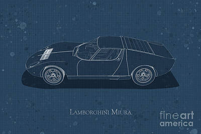 Digital Art - Lamborghini Miura - Side View - Stained Blueprint by David Marchal