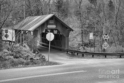 Photograph - Lamoille County Gold Brook Covered Bridge Black And White by Adam Jewell