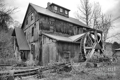 Photograph - Lamoille County Grist Mill Black And White by Adam Jewell