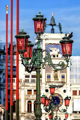 Photograph - Lamp Post Colors At The Piazza San Marco Venice by John Rizzuto