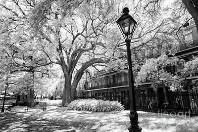 Photograph - Lamp Post In Jackson Square New Orleans Infrared by John Rizzuto