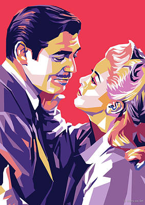 Curated Bath Towels - Lana Turner and Clark Gable by Stars on Art