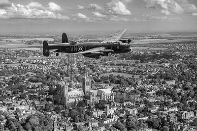 Photograph - Lancaster City Of Lincoln Over The City Of Lincoln Black And White by Gary Eason