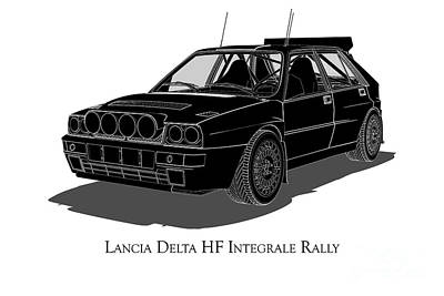 Digital Art - Lancia Delta Hf Integrale Rally - Front View by David Marchal