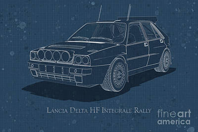 Digital Art - Lancia Delta Hf Integrale Rally - Front View - Stained Blueprint by David Marchal