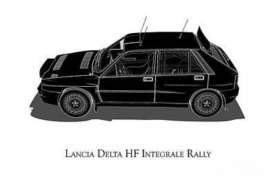 Digital Art - Lancia Delta Hf Integrale Rally - Side View by David Marchal
