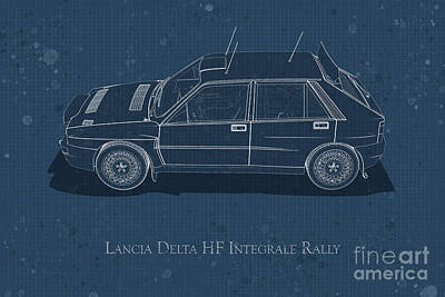 Digital Art - Lancia Delta Hf Integrale Rally - Side View - Stained Blueprint by David Marchal
