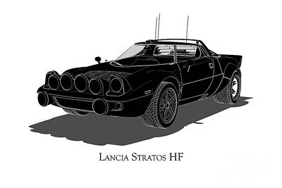Digital Art - Lancia Stratos Hf - Front View by David Marchal
