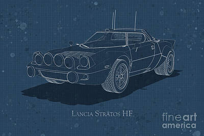 Digital Art - Lancia Stratos Hf - Front View - Stained Blueprint by David Marchal