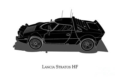 Digital Art - Lancia Stratos Hf - Side View by David Marchal