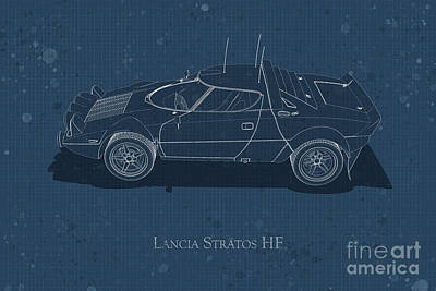 Photograph - Lancia Stratos Hf - Side View - Stained Blueprint by David Marchal