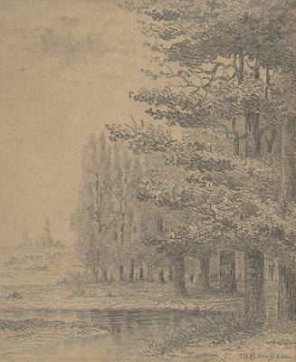 Drawing - Landscape - A Grove Of Trees Standing Near A River by Theodore Rousseau