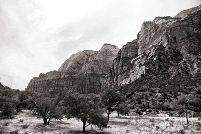 Digital Art - Landscape Bw Zion National Park Utah  by Chuck Kuhn