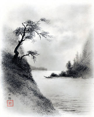 Painting - Landscape by Chikusui