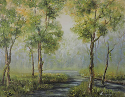 Painting - Landscape of the Great Swamp of New Jersey with pond by Katalin Luczay