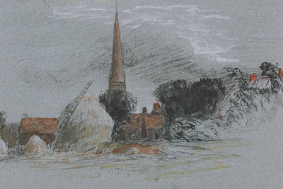 Drawing - Landscape Study - A Haystack Near A Church by Peter De Wint