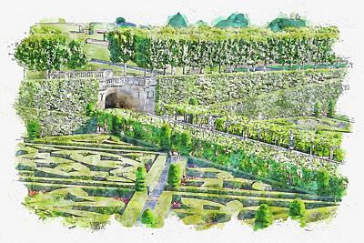 Landscapes Digital Art - Landscape #watercolor #sketch #landscape #green by TintoDesigns
