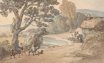 Drawing - Landscape With A Hunting Party by Thomas Rowlandson
