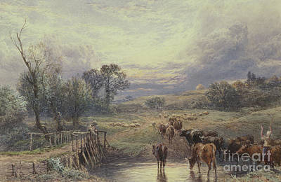 Painting - Landscape With Cattle And Bridge by Myles Birket Foster