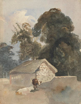 Drawing - Landscape With Cows And Barn by Peter De Wint