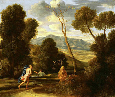 Painting - Landscape With Man Pursued By A Snake  by Nicolas Poussin