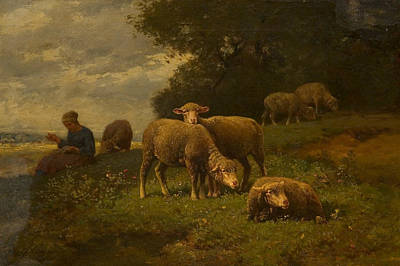 Painting - Landscape With Sheep And Shepherdess by Charles Jacque