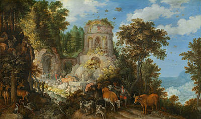 Painting - Landscape With The Flight Into Egypt by Roelant Savery