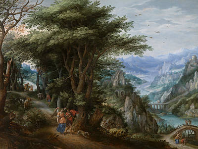 Painting - Landscape With Tobias And The Archangel Raphael by Denis van Alsloot