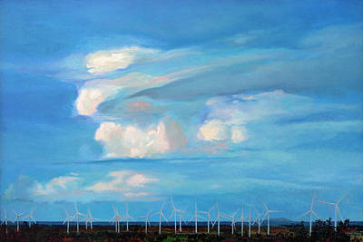 Painting - Landscape with Wind Turbines in Santa Isabel, Puerto Rico by Ben Morales-Correa