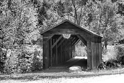 Photograph - Langdon New Hampshire Covered Bridge Black And White by Adam Jewell