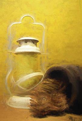 Mixed Media - Lantern And Pine Cones by Pamela Walton