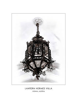 Digital Art - Lantern Hermes Villa - Vienna Austria - Travel Poster by Menega Sabidussi