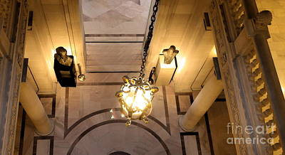 Photograph - Lanterns Lights Interior City Hall Color Sf  by Chuck Kuhn