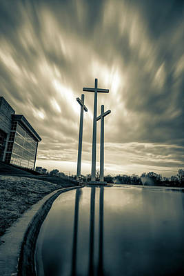 Photograph - Large Crosses Under Amazing Skies - Sepia by Gregory Ballos