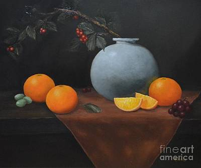 Painting - Large Vase With Oranges by Michelle Welles