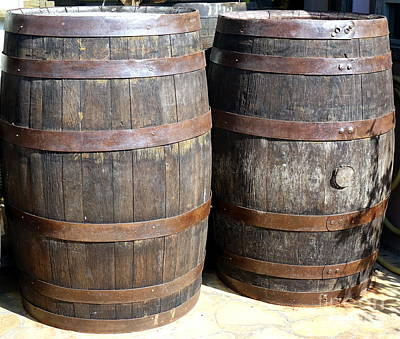 Photograph - Large Wooden Barrels by Yali Shi