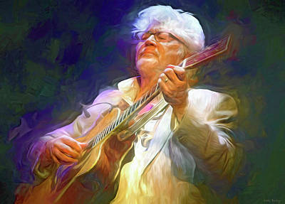 Jazz Mixed Media Royalty Free Images - Larry Coryell Royalty-Free Image by Mal Bray