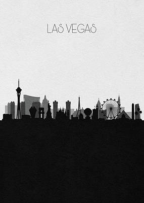 Digital Art - Las Vegas Cityscape Art V2 by Inspirowl Design