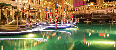Wild And Wacky Portraits Rights Managed Images - Las Vegas River Gondolas At Night Royalty-Free Image by Alex Grichenko